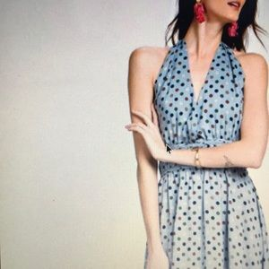 Faded blue polkadot halter fit and flair dress